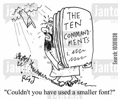complaints cartoon humor: Couldn't you have used a smaller font?