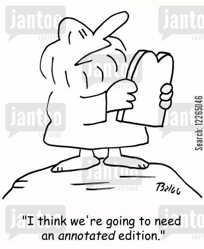 editions cartoon humor: 'I think we're going to need an ANNOTATED edition.'
