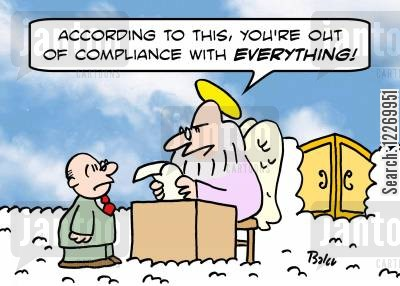 compliance cartoon humor: 'According to this, you're out of compliance with EVERYTHING!'