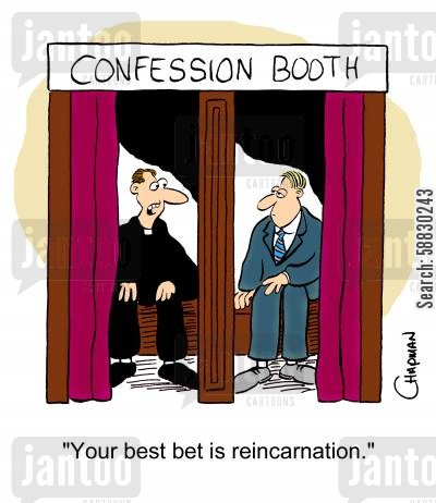 reincarnation cartoon humor: 'Your best bet is reincarnation.'