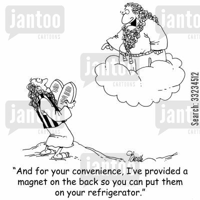 fridge magnet cartoon humor: 'And for your convenience, I've provided a magnet on the back so that you can put them on the refrigerator.'
