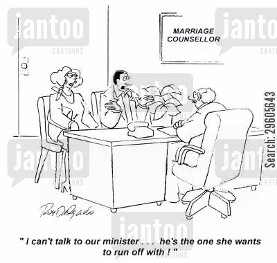 ministers cartoon humor: 'I can't talk to our minister... he's the one she wants to run off with!'