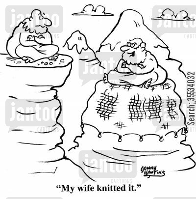 knitted blankets cartoon humor: Guru about mountaintop covering: 'My wife knitted it.'