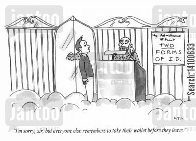 st peter cartoon humor: I.D. required for admission to Heaven