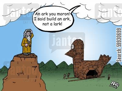 mishear cartoon humor: Noah mishears God and builds a Lark instead of an Ark.