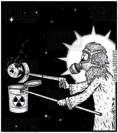 reactor cartoon humor: A not-so-happy God wearing protective clothing putting the Nuclear leaking Planet Earth in a Nuclear waste container