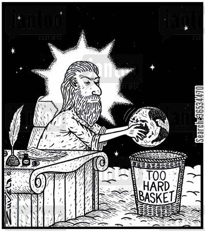 projects cartoon humor: A not-so-happy God with the humans putting Planet Earth in the 'Too hard basket'