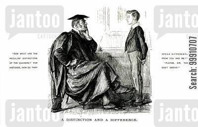 denominations cartoon humor: Schoolmaster asking a pupil about the Quakers