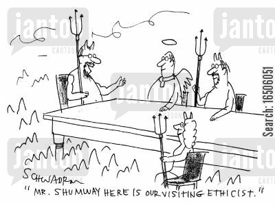 ethicist cartoon humor: 'Mr.Shumway here is our visiting ethicist.'