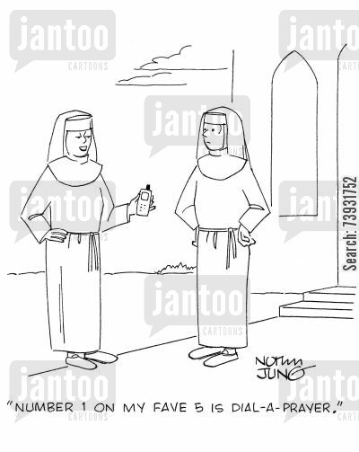 speed dial cartoon humor: 'Number 1 on my fave 5 is Dial-A-Prayer.'