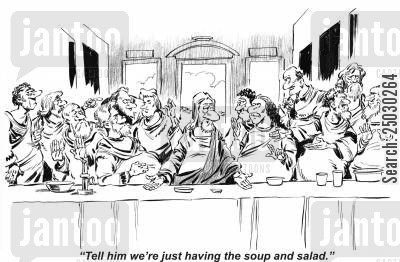 da vinci cartoon humor: 'Tell him we're just having the soup and salad.'
