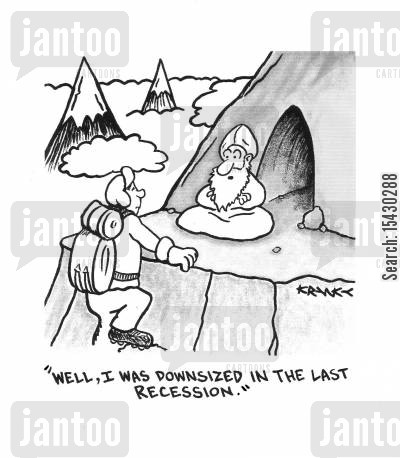 hermits cartoon humor: 'Well, I was downsized in the last recession.'