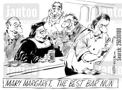 nun cartoon humor: Mary Margaret, the best bar nun.