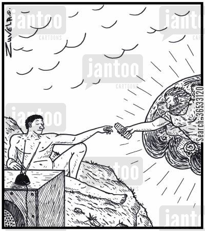 temptation cartoon humor: God handing Adam a TV remote control for his TV.