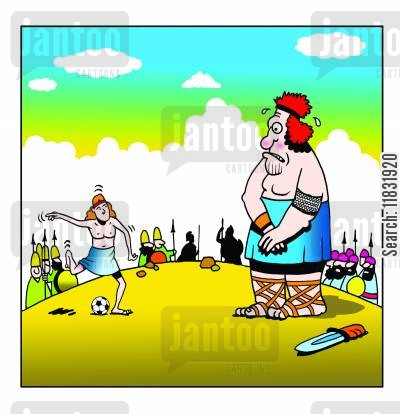 david and goliath cartoon humor: David and Goliath.