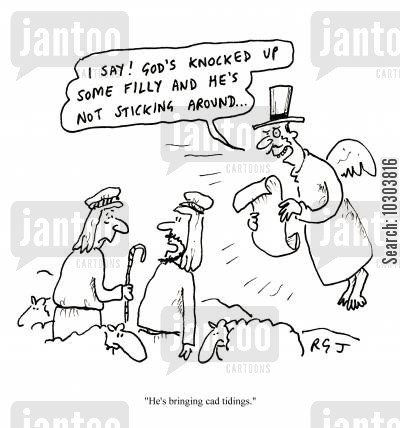 the three kings cartoon humor: 'He's bringing cad tidings.'