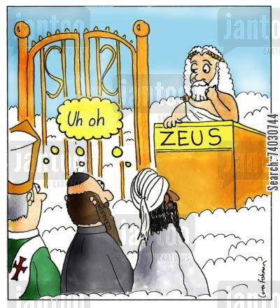 olympus cartoon humor: A surprise in heaven