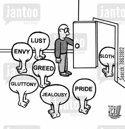 envy cartoon humor: When The Seven Deadly Sins Come Knocking.