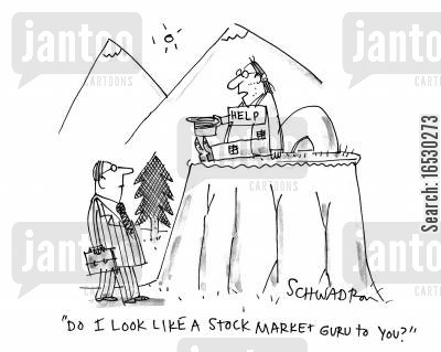 mountain guru cartoon humor: 'Do I look like a stock market guru to you?'