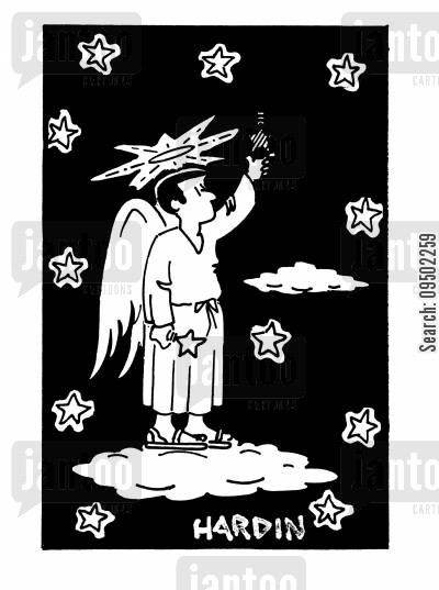 night sky cartoon humor: Angel changing a star lightbulb