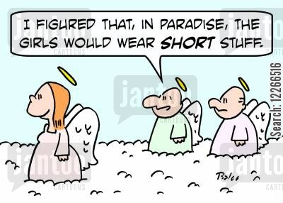 short skirt cartoon humor: 'I figured that, in paradise, the girls would wear SHORT stuff.'