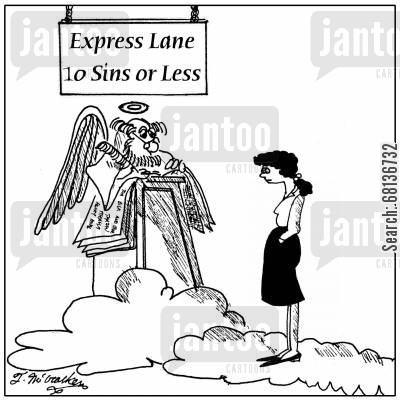express line cartoon humor: 'Express Line, Ten sins or less'