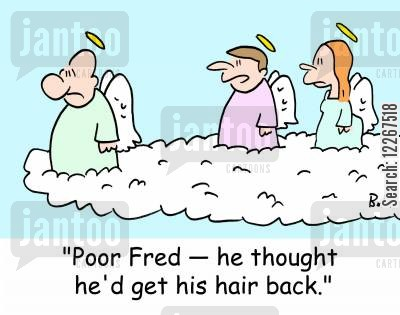 male vanity cartoon humor: 'Poor Fred -- he thought he'd get his hair back.'