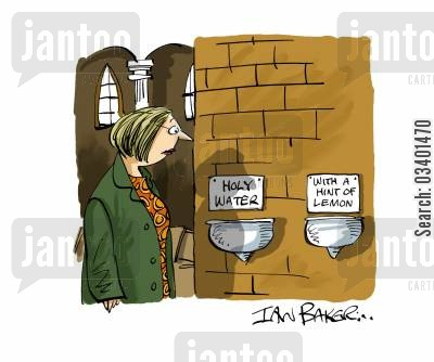 religious practice cartoon humor: Holy Water.