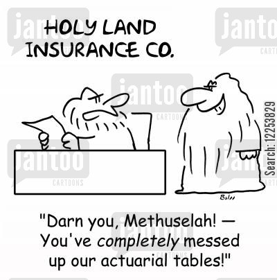 holy land cartoon humor: HOLY LAND INSURANCE CO. , 'Darn you, Methuselah! -- You've completely
