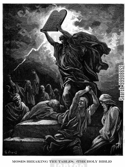 the ten commandments cartoon humor: Moses Breaking the Tablets (The Holy Bible).