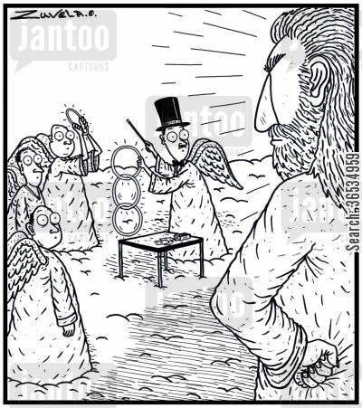 haloes cartoon humor: A not-so-happy God coming across some Angels playing Magic tricks with their Halos.