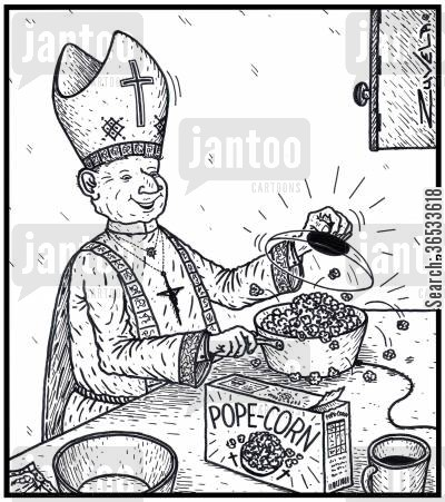 italy cartoon humor: Pope-Corn - the Pope cooking his own brand of popcorn