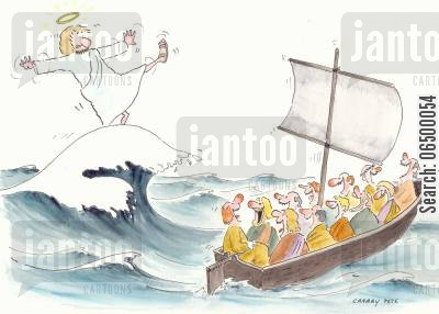 stormy cartoon humor: Jesus falling over a wave.
