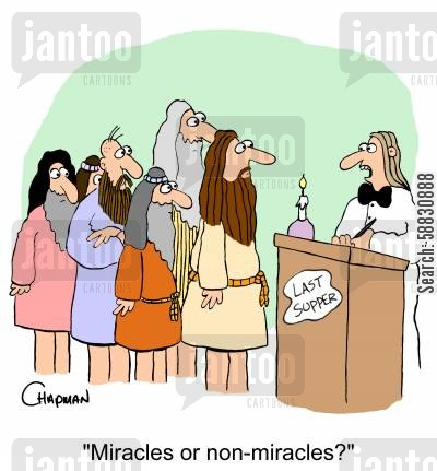 smoking section cartoon humor: 'Miracles or non-miracles?'