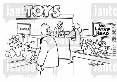 toy store cartoon humor: Mr. Latke Head.