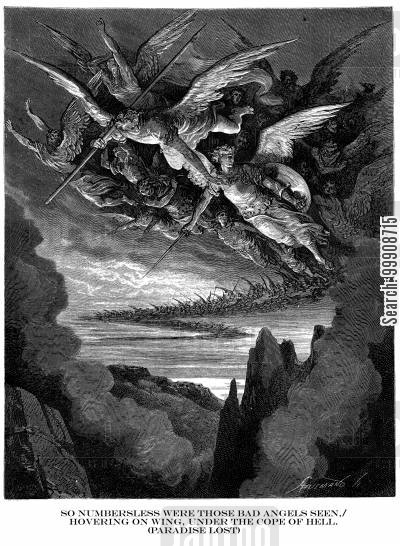 epic cartoon humor: 'So numberless were those bad angels seen,Hovering on wing,under the cope of Hell' (Paradise Lost).