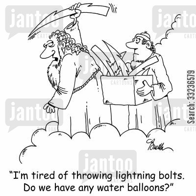 throwing lightning cartoon humor: 'I'm tired of throwing lightning bolts. Do we have any water balloons?'