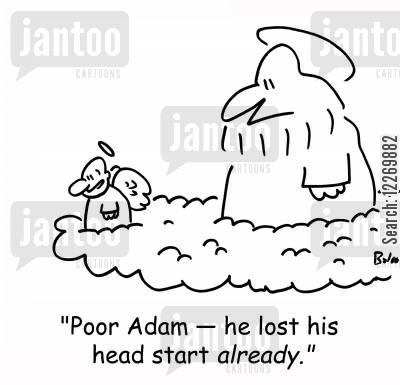 sympathetic cartoon humor: 'Poor Adam - he lost his head start ALREADY.'