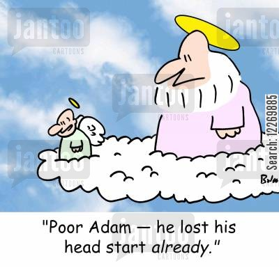 head start cartoon humor: 'Poor Adam -- he lost his head start ALREADY.'