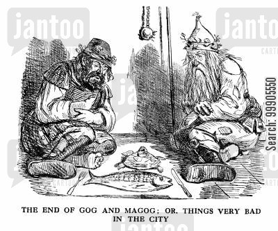 starves cartoon humor: Gog and Magog, defeated in London