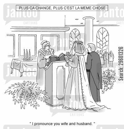 husband and wife cartoon humor: 'I pronounce you wife and husband.'