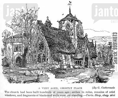 churchyards cartoon humor: A very aged, ghostly place