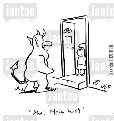 mein host cartoon humor: Aha! Mein host?