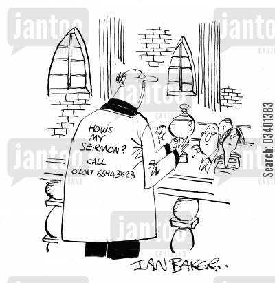church sermons cartoon humor: How's my Sermon . . .