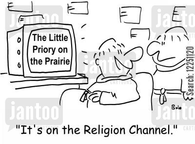 little house cartoon humor: 'It's on the Religion Channel.'