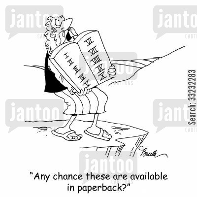 paperback cartoon humor: 'Any chance these are available in paperback?'