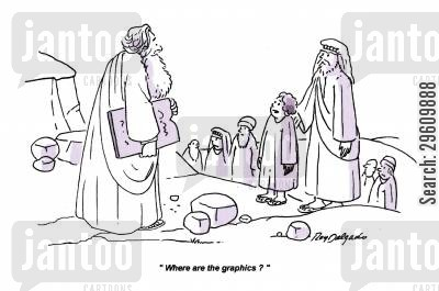 commandments cartoon humor: 'Where are the graphics?'