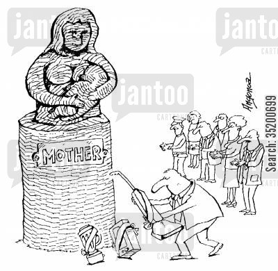 offerings cartoon humor: Mother Goddess statue being offered gifts of household alliances