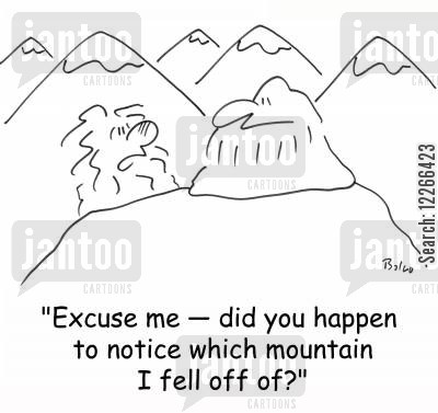 mountain gurus cartoon humor: 'Excuse me -- did you happen to noticed which mountain I fell off of?'