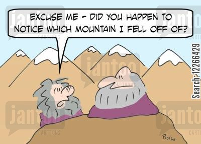 mountain guru cartoon humor: 'Excuse me -- did you happen to noticed which mountain I fell off of?'